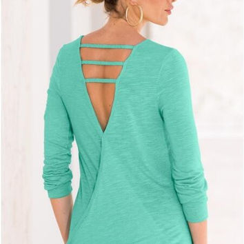 Green Back V Strap Long Sleeve Blouse