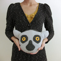 Plush Lemur Head stuffed animal plush dolls - Fauna Friends Collection by Fawn and Sea - handmade with eco friendly felt & fill