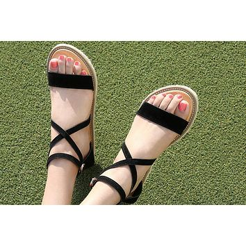 Hot-faced fashionable sandals, hemp rope soles and women's shoes