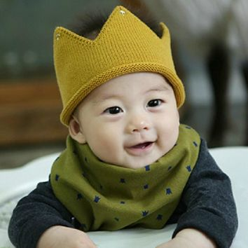 Baby Boy Girl Knit Cap Crown Style infant Baby Hat kids Handmade Crochet children beanies accessories