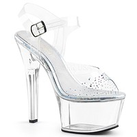 Aspire 608SD Clear Platform High Heel Shoe Rhinestone Details