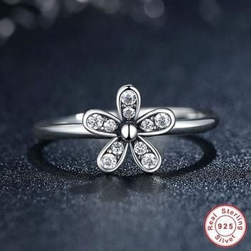 Original 925 Sterling Silver Dazzling Daisy Flower Ring Clear CZ Compatible with Pando