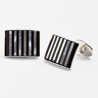 Men's David Donahue Striped Cuff Links - Silver/ Onyx/ Mother Of Pearl