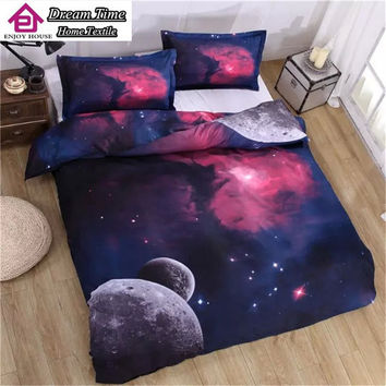 Hipster Galaxy Bedding Set Universe Outer Space Themed Galaxy Print Bed linen Bed sheet Bedclothes Queen Size Cheap Hot