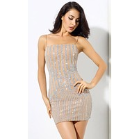 Cocktail Hour Silver Beige Glitter Sheer Mesh Stripe Strapless Bodycon Mini Dress