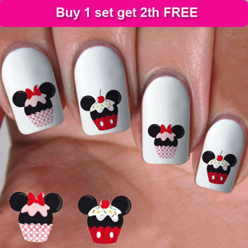 buy 1 get 1 free, 60 NAIL DECALS, minnie  cupcake, Nail Art,  Water Slide Decals Nail,Nail Art design, Nail Transfers, DS19