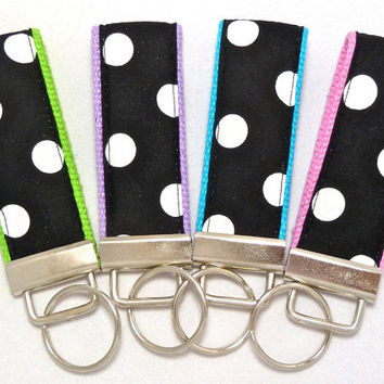 Mini Key Fob - Black & White Polka Dot on Choice of Webbing