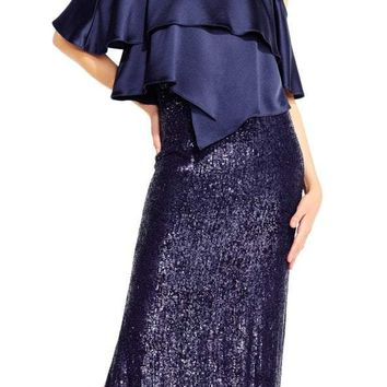 Aidan Mattox MD1E201424 Jewel Neck Popover Sequined Gown - 1 pc Twilight in Size 10 Available