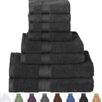 8 Piece Luxury Soft 100% Cotton Bath Towel Set In Black