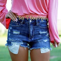 High Waist Peep Pocket Denim Shorts