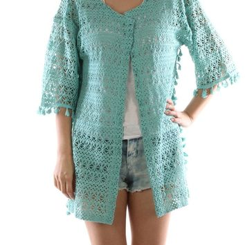 Floral Pattern Crochet Sleeved Coverup Poncho 73