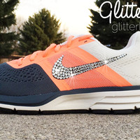 Women's Nike Air Pegasus 30 Running Shoes By Glitter Kicks - Hand Customized With Swarovski Elements Crystal Rhinestones - Coral Pink/Charcoal Gray