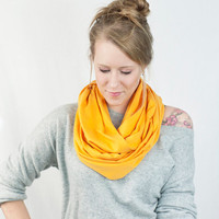 Yellow Infinity Scarf Mustard Golden Jersey Circle Cotton Womens Accessory Wide Women