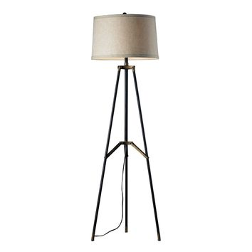D310 Functional Tripod Floor Lamp in Restoration Black and Aged Gold - Free Shipping!