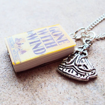 Gone With the Wind Necklace with Book Charm and by sophiesbeads