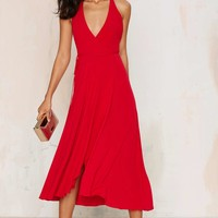 After Party Vintage Better off Red Wrap Dress