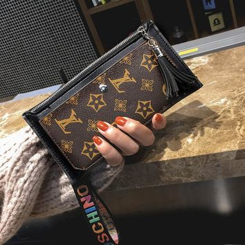 Long Leather Tassel Clutch Coin Bag