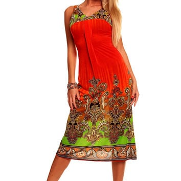 Red Printed Sleeveless V-neck A-Line Midi Dress