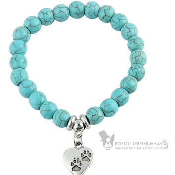 Stamped metal paw print jewelry | Pet bead bracelet with heart charm