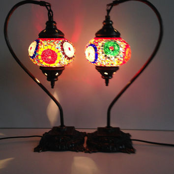 Mixed Color Set Of Swan Neck Mosaic Lamps With Vintage Look Square Base, Bedside night lamps, Turkish night lamps, Night Decoration,