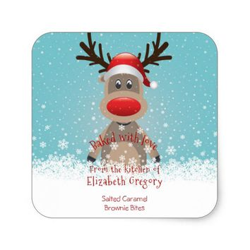 Christmas, Homemade Treats, Reindeer, Custom Square Sticker