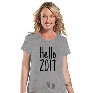 New Years Pregnancy Shirt - Hello 2017 Shirt - New Years Tee - Womens Grey T Shirt - Grey Tee - New Baby Reveal - Pregnancy Announcement