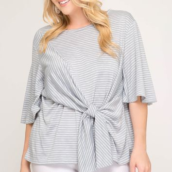 Women's Plus Striped Top with Front Tie Detail