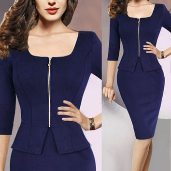 Square Neck Zipper Peplum Waist Sheath Dress