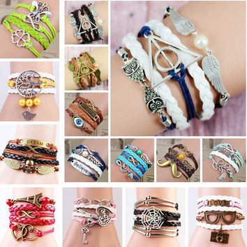 2015 Multilayer Braided Bracelets Vintage Owl Harry Potter Wings Infinity Bracelet