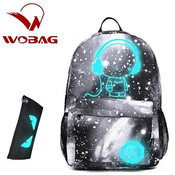 School Backpack Luminous Printing starry sky Children Backpack For Boy Girls Pencil Case Anime s Primary Middle School Bag AT_48_3