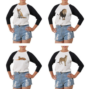 Women's Animal-7 Printed Elbow Sleeves T- Shirt WTS_03