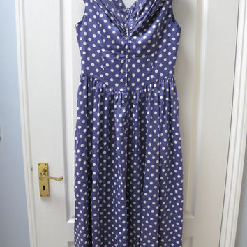 Laura Ashley dress -  Polka Dot dress - Tea Dress - Rockabilly Style - 1950s style -  UK size 14 -  Party - Prom - Vintage dress - Lilac