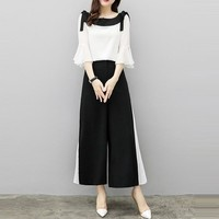 2019 Summer Set New Fashion Wide Leg Pants Chiffon Suit Two Piece Set Women Chiffon Flare Blouse And Skirt Pant Suits Sets