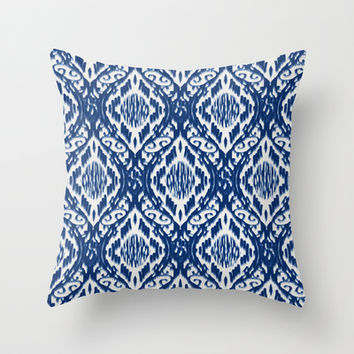 Damask Ikat: Navy and Off Ivory/White Throw Pillow by Eileen Paulino