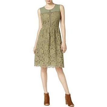 Maison Jules Womens Lace Overlay Mixed Media Cocktail Dress