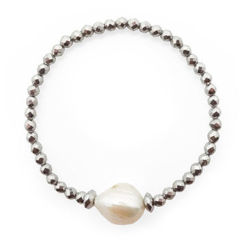 A Study in Pearl with Hematite, Bracelet
