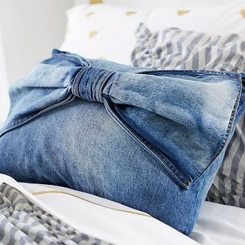 The Emily & Meritt Denim Bow Pillow Cover