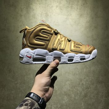 Best Online Sale Supreme X Nike Air More Uptempo Retro Sport Baskerball Gold Sneaker 902290-700