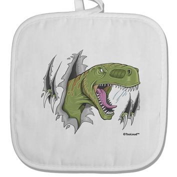 Green Dinosaur Breaking Free White Fabric Pot Holder Hot Pad by TooLoud