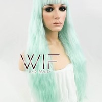 """28"""" Wavy Light Green Synthetic Wig CM157"""