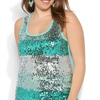 Plus Size Multicolor Sequin Striped Tank Top