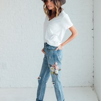Embroidered Distressed Jean - cladandcloth