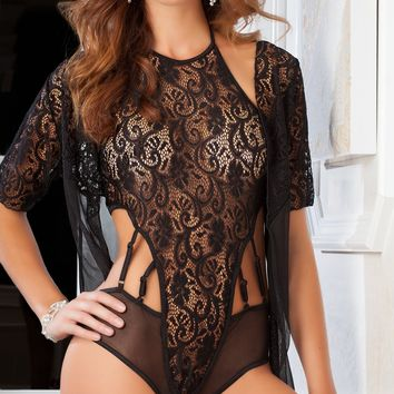 Black Lace Teddy and Robe