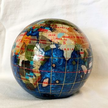"Unique Art 4.3"" (110 mm) Diameter Gemstone Globe Paperweight Paper weight (Bahama Blue Swirl)"