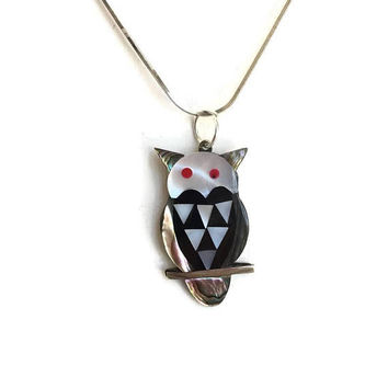 "Alpaca Abalone and Mother of Pearl Owl Necklace on Sterling Silver 16"" Chain Made in Mexico, Owl Jewelry, Abalone Jewelry, MOP Jewelry"