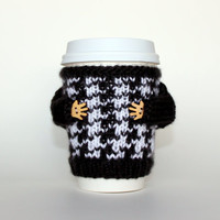 Coffee cozy. Black and white houndtooth travel mug cozy. Knit mug sweater. Coffee accessories. Office coffee. Starbucks cup holder. B&W
