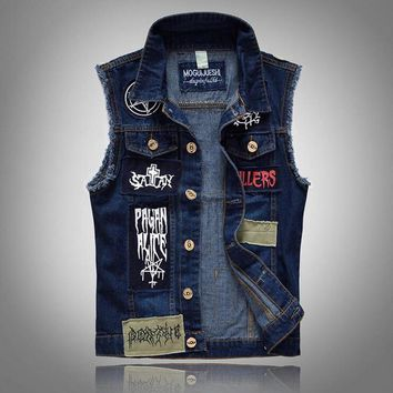 VXO  Mens Denim JACKET  Classic Vintage Men's Jeans Vest Sleeveless Jackets Fashion Patch Designs Punk Rock Style Ripped Cowboy