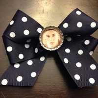 Justin Bieber Navy Blue & White Polka Dot Hair Bow by OhSoCr8tive
