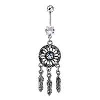 Body Jewelry Crystal Gem Dream Catcher Navel Dangle Belly Barbell Button Bar Ring Body piercing Art SM6