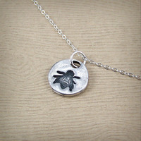 Petite Honeybee Necklace - Tiny Silver Necklace - Silver Bee Pendant - Queen Bee Jewelry - Gift for Mom - Fine Silver Bee Necklace for Men